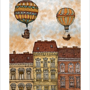 Léghajók Budapest felett - számozott művészi nyomat, print, A5 méretben, Művészet, Művészi nyomat, Fotó, grafika, rajz, illusztráció, Mindenmás, Limitált számú digitális reprodukció saját grafikámról, melyből mindössze 120 db nyomat készült.\n\nFA..., Meska
