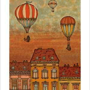 Léghajók Budapest felett, F2 -  számozott művészi nyomat, print, A5 méretben, Képzőművészet, Otthon & lakás, Illusztráció, Lakberendezés, Festészet, Limitált számú digitális reprodukció saját grafikámról, melyből mindössze 120 db nyomat készült.\n\nFA..., Meska