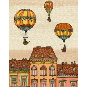 Léghajók Budapest felett, F4 -  számozott művészi nyomat, print, A5 méretben, Képzőművészet, Otthon & lakás, Illusztráció, Lakberendezés, Festészet, Limitált számú digitális reprodukció saját grafikámról, melyből mindössze 120 db nyomat készült.\n\nFA..., Meska