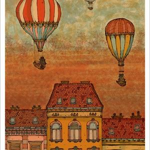 Léghajók Budapest felett -  számozott művészi nyomat, print, saját grafikámról, A4 méretben, Művészet, Művészi nyomat, Fotó, grafika, rajz, illusztráció, Mindenmás, Limitált számú digitális reprodukció saját grafikámról, melyből mindössze 120 db nyomat készült.\n\nFA..., Meska