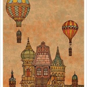 Budapest építése  estefelé-  számozott művészi nyomat, print, saját grafikámról, A4 méretben, Művészet, Művészi nyomat, Fotó, grafika, rajz, illusztráció, Mindenmás, Limitált számú digitális reprodukció saját grafikámról, melyből mindössze 120 db nyomat készült.\n\nFA..., Meska