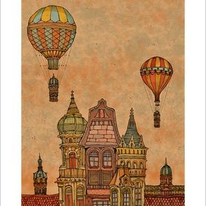 Budapest építése estefelé -  számozott művészi nyomat, print, A5 méretben, Művészet, Művészi nyomat, Fotó, grafika, rajz, illusztráció, Mindenmás, Limitált számú digitális reprodukció saját grafikámról, melyből mindössze 120 db nyomat készült.\n\nFA..., Meska