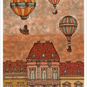 Léghajók Budapest felett -  számozott művészi nyomat, print, saját grafikámról, A4 méretben, Otthon & lakás, Képzőművészet, Illusztráció, Lakberendezés, Festészet, Limitált számú digitális reprodukció saját grafikámról, melyből mindössze 120 db nyomat készült.\n\nFA..., Meska