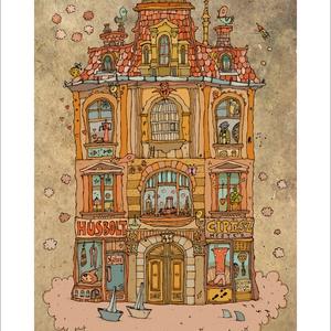 Madarak háza - számozott művészi nyomat, print, saját grafikámról, A5 méretben, Otthon & lakás, Képzőművészet, Illusztráció, Lakberendezés, Festészet, Limitált számú (120 db) digitális reprodukció, nyomat saját grafikámról.\n\nFALVIDÍTÓ: Művészi fali dí..., Meska