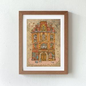 Madarak háza - számozott művészi nyomat, print, saját grafikámról, A5 méretben (MohaVilaga) - Meska.hu