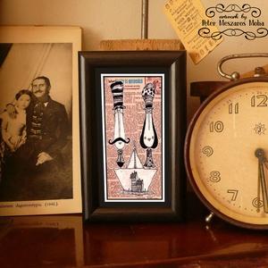 Bajusz Őr Pár: A békés otthon védelmezői: szignózott, keretezett nyomat, Képzőművészet, Otthon & lakás, Illusztráció, Lakberendezés, Fotó, grafika, rajz, illusztráció, Mindenmás, Keretezett művészi nyomat a békés otthon kedvelőinek.\nSaját grafikámmal.\nKerettel együtt.\nA kép háto..., Meska