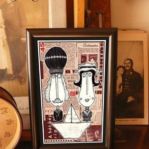 Bajusz Őr Pár: A békés otthon védelmezői, szignózott, keretezett nyomat, Művészet, Grafika & Illusztráció, Fotó, grafika, rajz, illusztráció, Mindenmás, Keretezett művészi nyomat a békés otthon kedvelőinek.\nSaját grafikámmal.\nKerettel együtt.\nA kép háto..., Meska