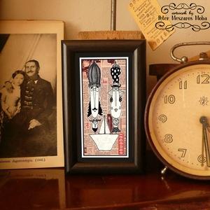 Bajusz Őr Pár: A békés otthon védelmezői: szignózott, keretezett nyomat, Otthon & lakás, Képzőművészet, Illusztráció, Lakberendezés, Fotó, grafika, rajz, illusztráció, Mindenmás, Keretezett művészi nyomat a békés otthon kedvelőinek.\nSaját grafikámmal.\nKerettel együtt.\nA kép háto..., Meska