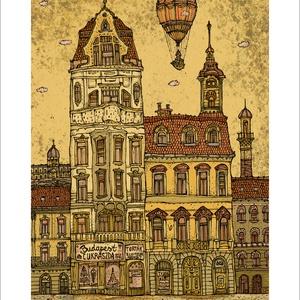 Budapest Cukrászda -  számozott művészi nyomat, print, A5 méretben, Művészet, Művészi nyomat, Fotó, grafika, rajz, illusztráció, Mindenmás, Limitált számú digitális reprodukció saját grafikámról, melyből mindössze 120 db nyomat készült.\n\nFA..., Meska