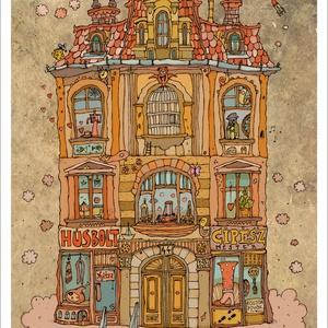 Madarak háza -  számozott művészi nyomat, print, saját grafikámról, A4 méretben, Otthon & lakás, Képzőművészet, Illusztráció, Lakberendezés, Festészet, Limitált számú digitális reprodukció saját grafikámról, melyből mindössze 120 db nyomat készült.\n\nFA..., Meska