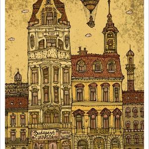 Budapest Cukrászda -  számozott művészi nyomat, print, saját grafikámról, A4 méretben, Művészet, Művészi nyomat, Fotó, grafika, rajz, illusztráció, Mindenmás, Limitált számú digitális reprodukció saját grafikámról, melyből mindössze 120 db nyomat készült.\n\nFA..., Meska