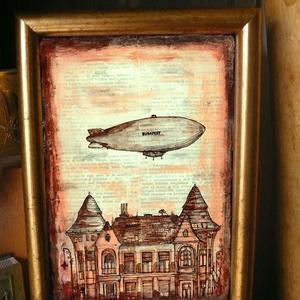 Zeppelin - szignózott nyomat arany színű keretben, Képzőművészet, Otthon & lakás, Illusztráció, Lakberendezés, Falikép, Fotó, grafika, rajz, illusztráció, Mindenmás, Reprodukció, művészi nyomat saját grafikámról, kerettel együtt. \n\nKÉP MÉRETE: 11,5 cm x 16 cm\nKERETT..., Meska