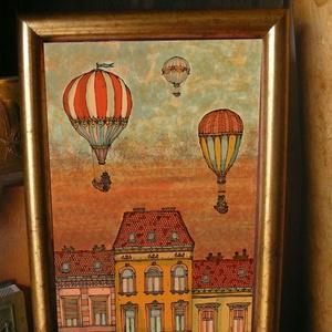 Léghajók Budapest felett - szignózott nyomat arany színű keretben, Képzőművészet, Otthon & lakás, Illusztráció, Lakberendezés, Falikép, Fotó, grafika, rajz, illusztráció, Mindenmás, Reprodukció, művészi nyomat saját grafikámról, kerettel együtt. \n\nKÉP MÉRETE: 11,5 cm x 16 cm\nKERETT..., Meska