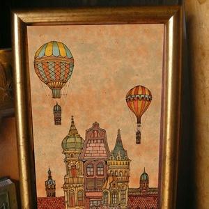 Budapest építése estefelé - szignózott nyomat színes keretben, Képzőművészet, Otthon & lakás, Illusztráció, Lakberendezés, Falikép, Fotó, grafika, rajz, illusztráció, Mindenmás, Reprodukció, művészi nyomat saját grafikámról, kerettel együtt. \n\nKÉP MÉRETE: 11,5 cm x 16 cm\nKERETT..., Meska