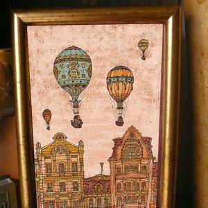 Léghajók a Fővámon - szignózott nyomat színes keretben, Képzőművészet, Otthon & lakás, Illusztráció, Lakberendezés, Falikép, Fotó, grafika, rajz, illusztráció, Mindenmás, Reprodukció, művészi nyomat saját grafikámról, kerettel együtt. \n\nKÉP MÉRETE: 11,5 cm x 16 cm\nKERETT..., Meska