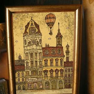 Budapest Cukrászda - szignózott nyomat színes keretben, Képzőművészet, Otthon & lakás, Illusztráció, Lakberendezés, Falikép, Fotó, grafika, rajz, illusztráció, Mindenmás, Reprodukció, művészi nyomat saját grafikámról, kerettel együtt. \n\nKÉP MÉRETE: 11,5 cm x 16 cm\nKERETT..., Meska