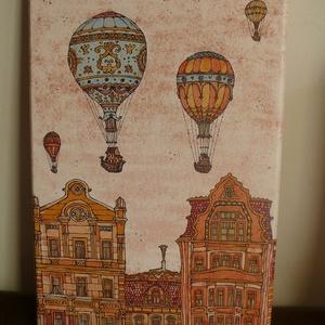 Léghajók a Fővámon - vakrámára feszített vászon print, A4, Képzőművészet, Otthon & lakás, Illusztráció, Lakberendezés, Mindenmás, Ez egy gyönyörű vászon print/nyomat, saját színes grafikámról.\nA képet Budapest épületei ihlették.\n2..., Meska