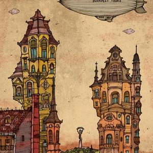 Budapest Tours - számozott művészi nyomat, print, A5 méretben, Művészet, Művészi nyomat, Fotó, grafika, rajz, illusztráció, Mindenmás, Limitált számú digitális reprodukció saját grafikámról, melyből mindössze 120 db nyomat készült.\n\nFA..., Meska