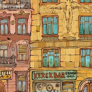 Kerék Bár -  számozott művészi nyomat, print, saját grafikámról, A4 méretben (MohaVilaga) - Meska.hu