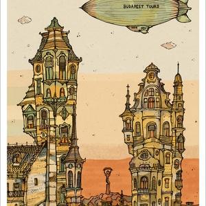 Budapest Tours estefelé -  számozott művészi nyomat, print, saját grafikámról, A4 méretben, Művészet, Művészi nyomat, Fotó, grafika, rajz, illusztráció, Mindenmás, Limitált számú digitális reprodukció saját grafikámról, melyből mindössze 120 db nyomat készült.\n\nFA..., Meska