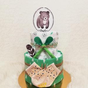 Pelenkatorta - macis, Játék & Gyerek, Babalátogató ajándékcsomag, Mindenmás, Pelenkatorta macis dekorációval.\nKedves és praktikus saját készítésű ajándék babaváró bulira, babalá..., Meska