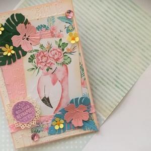 """""""Flamingó""""s Üdvözlet, Otthon & lakás, Naptár, képeslap, album, Képeslap, levélpapír, Ajándékkísérő, Papírművészet, Domborított és formavágott technikával készült trópusi hangulatú Üdv.kártyát készítettem.\nA képeslap..., Meska"""