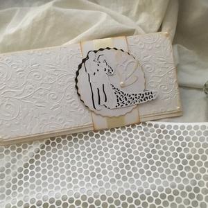 Esküvői Pénzátadó , Esküvő, Meghívó, ültetőkártya, köszönőajándék, Papírművészet, Domborított és 3D technikával készült Pénzátadó,mely tartalmazza a kísérő szövegezhető kártyát és a ..., Meska