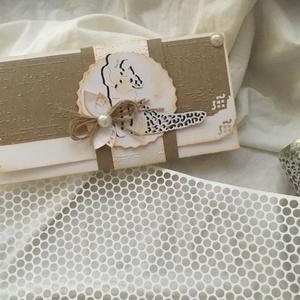 Esküvői Pénzátadó, Esküvő, Nászajándék, Papírművészet, Domborított és 3D technikával készült Pénzátadó-mely tartalmazza a szövegezhető kártyát és a boríték..., Meska