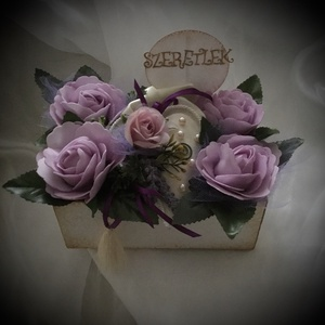 """""""Levendula-Harmónia""""-Virágbox, Esküvő, Meghívó, ültetőkártya, köszönőajándék, Otthon & lakás, Lakberendezés, Dekoráció, Asztaldísz, Virágkötés, Lila színárnyalatú Örökvirág-boxot készítettem-melyhez tartozik 1db. Üdv.kártya is.\n-Köszönöm-Boldog..., Meska"""