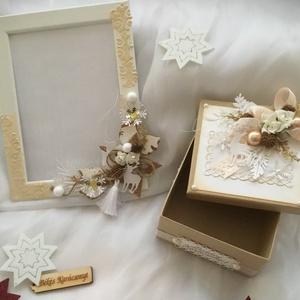 """""""Fehér Karácsony""""Ajándékszett-, Karácsony & Mikulás, Papírművészet, Mindenmás, Karácsonyi Szett tartalmaz-\n1db.Fotókeretet,melynek mérete 13*18cm-fotó elhelyezésére alkalmas.\n1 db..., Meska"""