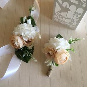 Púder Kardísz és Kitűző Szett-, Esküvő, Ékszer, Karkötő & Csuklódísz, Virágkötés, Pasztell színárnyalatú Örökvirágokból készítettem ezt az Esküvői Szettet-Koszorúslány vagy Hölgy Tan..., Meska