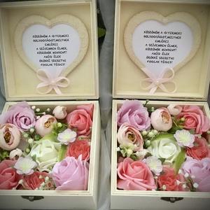 """""""KÖSZÖNÖM""""-Esküvői Szülőköszöntő Szett -Fa Virágdoboz-, Esküvő, Emlék & Ajándék, Szülőköszöntő ajándék, Virágkötés, Decoupage, transzfer és szalvétatechnika, Fa ajándékdobozt díszítettem minőségi örök virágokkal-rózsaszín angol    rózsákkal,törtfehér és kora..., Meska"""