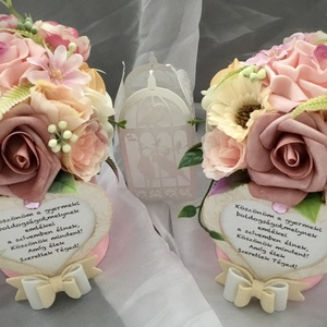 -KÖSZÖNÖM ANYA-Szülőköszöntő Virág Box,Doboz Szett-Esküvőre-, Esküvő, Emlék & Ajándék, Szülőköszöntő ajándék, Virágkötés, Decoupage, transzfer és szalvétatechnika, Minőségi Örökvirágok és Habrózsák alkotják Virág boxomat-Púder,Barack,Rózsaszín színvilágban.\n\nKöszö..., Meska