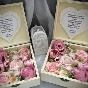 """""""KÖSZÖNÖM""""-Esküvői Szülőköszöntő Szett -Fa Virágdoboz-, Esküvő, Emlék & Ajándék, Szülőköszöntő ajándék, Virágkötés, Decoupage, transzfer és szalvétatechnika, Fa ajándékdobozt díszítettem minőségi örök virágokkal-rózsaszín angol    rózsákkal,törtfehér és rózs..., Meska"""