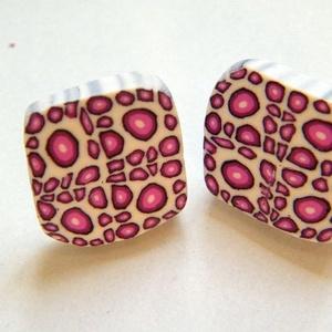 Rózsaszínű párduc ékszerszett fülbevaló, gyűrű és bross - Meska.hu
