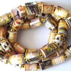Őszi fények nyaklánc újrahasznosított papírból, Ékszer, Nyaklánc, Ékszerkészítés, Újrahasznosított alapanyagból készült termékek, A nyaklánc hengeres gyöngyei újrahasznosított papírokból készültek: egy már rég elavult ismeretterje..., Meska