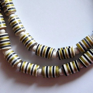 Fekete-arany nyaklánc újrahasznosított papírból, Ékszer, Nyaklánc, Medál nélküli nyaklánc, Ékszerkészítés, Újrahasznosított alapanyagból készült termékek, Meska