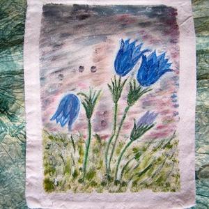 Harangvirág festett textilszatyor - Meska.hu