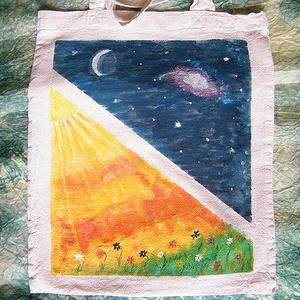 Nyáréj festett textilszatyor, Táska & Tok, Bevásárlás & Shopper táska, Shopper, textiltáska, szatyor, Festett tárgyak, Meska