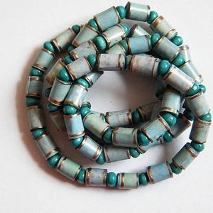 Fáradt türkiz nyaklánc újrahasznosított papírból, Ékszer, Nyaklánc, Medál nélküli nyaklánc, Ékszerkészítés, Újrahasznosított alapanyagból készült termékek, Meska