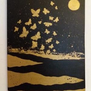 Absztrakt dekorációs olajfestmény, 40 cm x 50 cm - Meska.hu