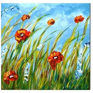 Nyárutós- mezős , Képzőművészet, Otthon & lakás, Festmény, Akril, Festészet, 3 x 20x20 cm-es felületkezelt farost, akril.\n\nTájas festegetés, most 3 az 1-ben :) \nCímkék: festmény..., Meska