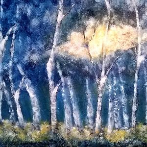 Kék éjben , Képzőművészet, Otthon & lakás, Festmény, Akril, Festészet, 47 x 53 cm-es OSB lap, akril, szivacs, festőkés.\nCímkék: festmény, akril, táj, hangulatkép \n\nNem iga..., Meska