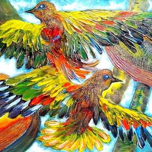 Boldogság-madarak , Képzőművészet, Otthon & lakás, Festmény, Akril, Festészet, 50 x 35 cm-es karton lap, akril estés, festőkéssel.\nHangulatkép, sok sok színnel :) , mély textúráva..., Meska