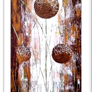 Gömbös virágosság , Képzőművészet, Otthon & lakás, Festmény, Akril, Festészet, 37 x 68 cm-es farost, akril festés, festőkés technikával.\n\nCímkék: festmény, akril, fantasy, hangula..., Meska