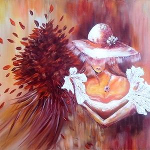 Lány kalapban , Képzőművészet, Otthon & lakás, Festmény, Akril, Festészet, 50 x 40 cm-es, farostra készült akril festegetés, ecset, festőkés eszközökkel :) \nCímkék: festmény, ..., Meska