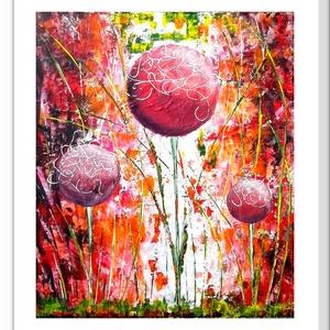 Gömbös virágosság 2., Képzőművészet, Otthon & lakás, Festmény, Akril, Festészet, 44 x 50 cm-es felületkezelt farostra készült, akril festés, festőkés eszközhasználattal.\n\nCímkék: fe..., Meska