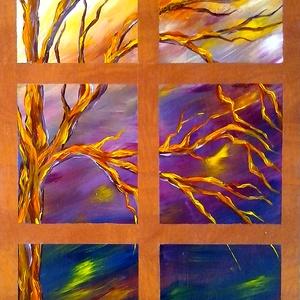 Ablakból kint , Képzőművészet, Otthon & lakás, Festmény, Akril, Festészet, 30 x 50 cm-es faerezetű farostra  akril festés, ecset használattal.\n\nCímkék: festmény, akril, táj, h..., Meska
