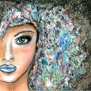 Az éj lánya , Képzőművészet, Otthon & lakás, Festmény, Akril, Festmény vegyes technika, Festészet, 25 x 25 cm-es vászonfedett farost, akril festék, 3 D paszta, lakk és most pár apróság, amit használt..., Meska