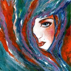 Színes sálban  - Nyári akció :  2019. július 1-től a festésem 20 % -os kedvezménnyel lehet a Tiéd ! , Akril, Festmény, Művészet, Festészet, 30 x 40 cm-es Canvas Sketch Pad karton, akril festés, festőkéssel.\n\nHangulatkép, mert  néha nagyon k..., Meska